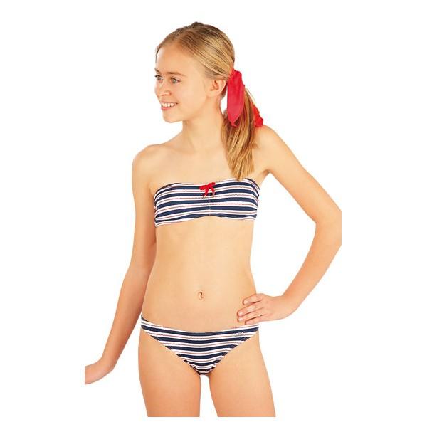Dívčí plavková podprsenka BANDEAU. Bez výztuže. Boční kostice. Zapínání na  zádech. Ozdobný doplněk. 92% Polyamid + 8% Elastan Tisk. 140 9d077b5af0