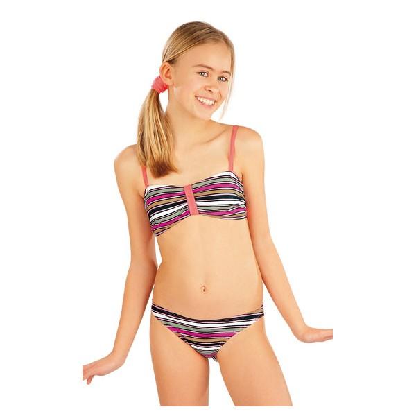 81791850b Dívčí plavkový top. Bez výztuže. Nastavitelná ramínka. 92% Polyamid + 8%  Elastan Tisk + reflexně oranžová 152, 158, 164